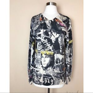 PRINTED ARTWORKS ROLLING STONE KNIT TOP RARE S